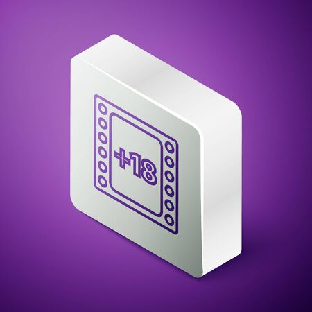 Isometric line Play Video with inscription 18 plus content icon isolated on purple background. Age restriction symbol. Adult channel. Silver square button. Vector Illustration Ilustrace