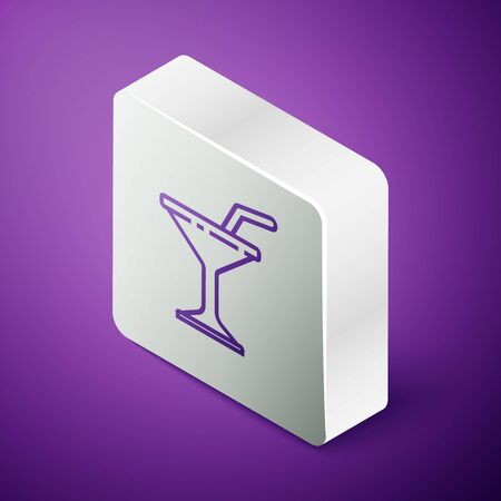 Isometric line Martini glass icon isolated on purple background. Cocktail icon. Wine glass icon. Silver square button