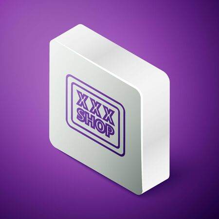 Isometric line Sex shop icon isolated on purple background. Sex shop, online sex store, adult erotic products concept. Silver square button Ilustrace