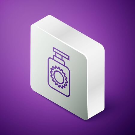 Isometric line Sunscreen spray bottle icon isolated on purple background. Protection for the skin from solar ultraviolet light. Silver square button. Vector Illustration