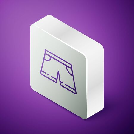 Isometric line Swimming trunks icon isolated on purple background. Silver square button. Vector Illustration Ilustrace
