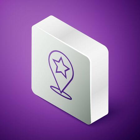 Isometric line Map pointer with star icon isolated on purple background. Star favorite pin map icon. Map markers. Silver square button. Vector Illustration Ilustracja