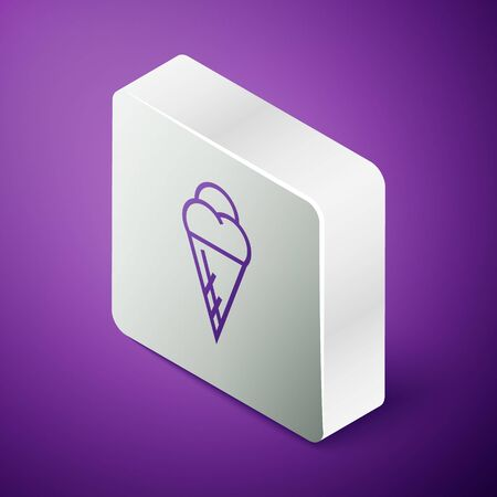 Isometric line Ice cream in waffle cone icon isolated on purple background. Sweet symbol. Silver square button. Vector Illustration
