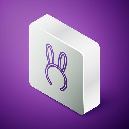 Isometric line Mask with long bunny ears icon isolated on purple background. Fetish accessory. Sex toy for adult. Silver square button