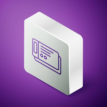 Isometric line Travel ticket icon isolated on purple background. Train, ship, plane, tram, bus transport. Travel service concept. Silver square button