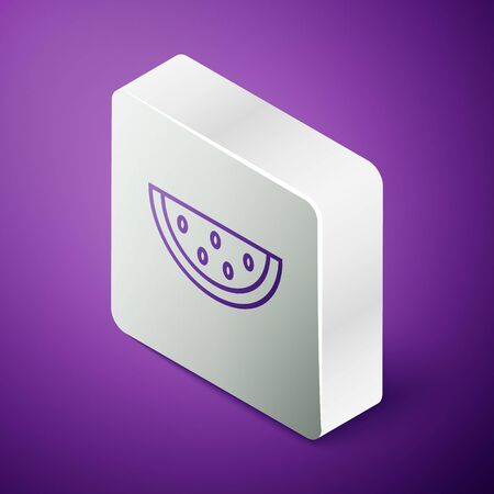 Isometric line Watermelon icon isolated on purple background. Silver square button. Vector Illustration