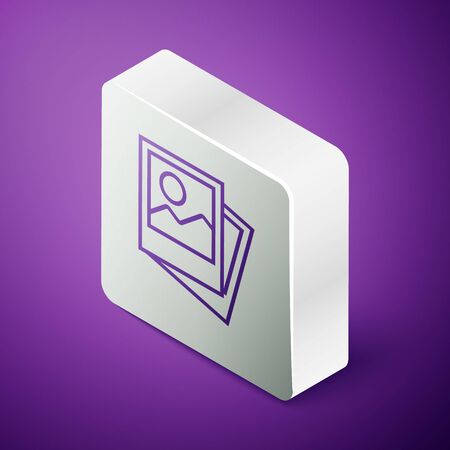 Isometric line Photo icon isolated on purple background. Silver square button. Vector Illustration Ilustrace