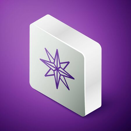 Isometric line Wind rose icon isolated on purple background. Compass icon for travel. Navigation design. Silver square button. Vector Illustration Ilustrace