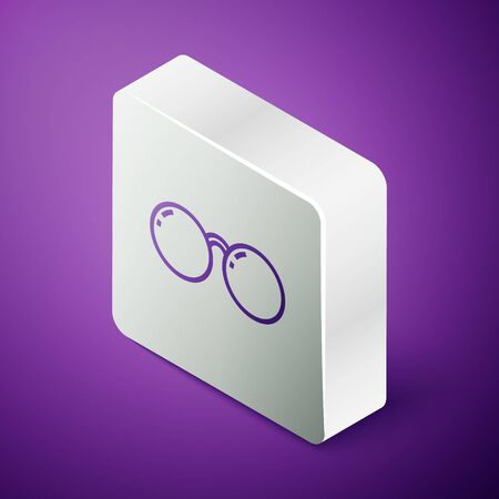 Isometric line Glasses icon isolated on purple background. Eyeglass frame symbol. Silver square button. Vector Illustration