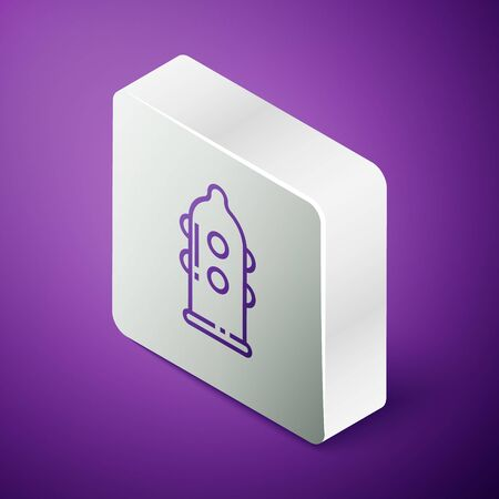 Isometric line Condom safe sex icon isolated on purple background. Safe love symbol. Contraceptive method for male. Silver square button