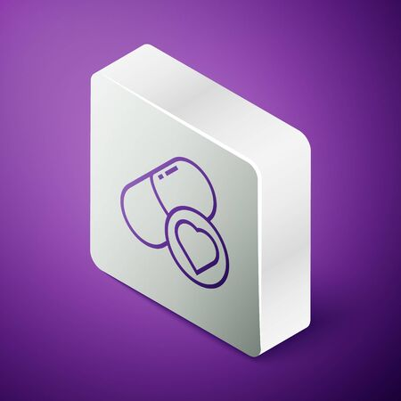 Isometric line Pills for potency, aphrodisiac icon isolated on purple background. Sex pills for men and women. Silver square button. Vector Illustration