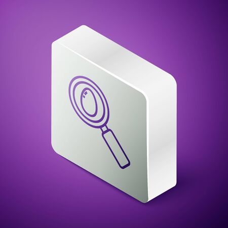 Isometric line Search and easter egg icon isolated on purple background. Happy Easter. Silver square button