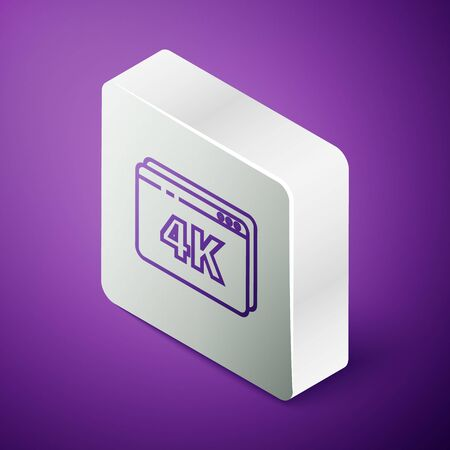 Isometric line Online play video with 4k Ultra HD video technology icon isolated on purple background. Film strip with play sign. Silver square button