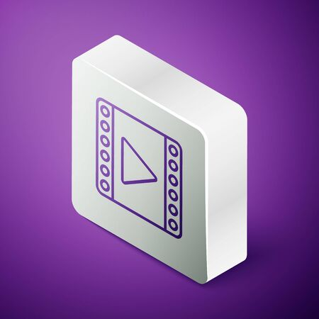 Isometric line Play Video icon isolated on purple background. Film strip sign. Silver square button  イラスト・ベクター素材