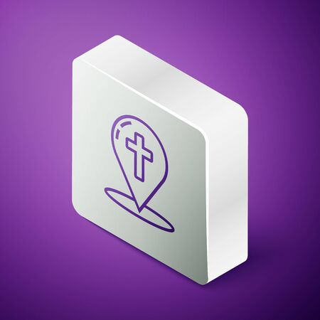 Isometric line Map pointer with christian cross icon isolated on purple background. Silver square button
