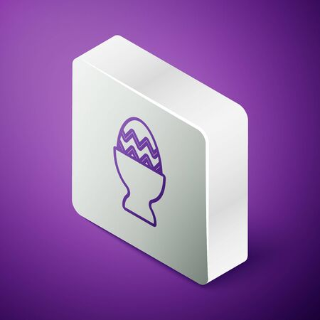 Isometric line Easter egg on a stand icon isolated on purple background. Happy Easter. Silver square button