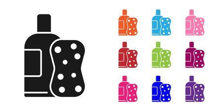 Black Bottle of shampoo and sponge icon isolated on white background. Set icons colorful
