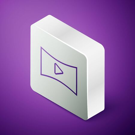 Isometric line Online play video icon isolated on purple background. Film strip with play sign. Silver square button