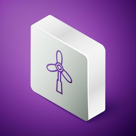 Isometric line Wind turbine icon isolated on purple background. Wind generator sign. Windmill for electric power production. Silver square button