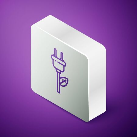 Isometric line Electric saving plug in leaf icon isolated on purple background. Save energy electricity. Environmental protection. Bio energy. Silver square button. Vector Illustration Standard-Bild - 147391873