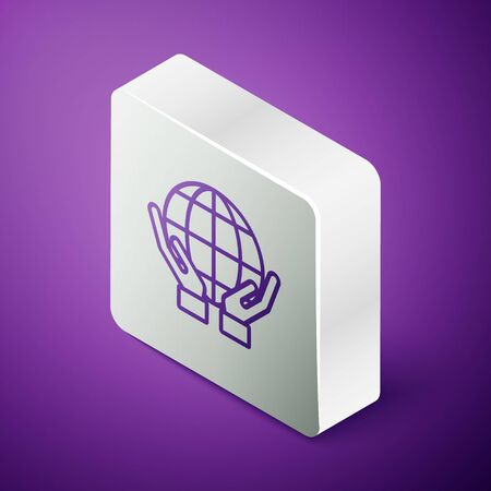 Isometric line Human hands holding Earth globe icon isolated on purple background. Save earth concept. Silver square button