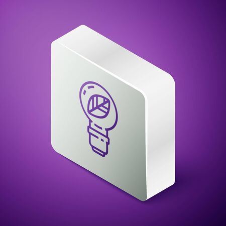Isometric line Light bulb with leaf icon isolated on purple background. Eco energy concept. Alternative energy concept. Silver square button