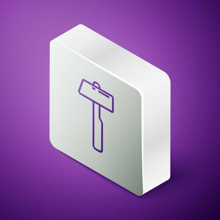Isometric line Hammer icon isolated on purple background. Tool for repair. Silver square button