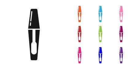 Black Mascara brush icon isolated on white background. Set icons colorful