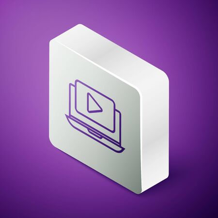 Isometric line Online play video icon isolated on purple background. Laptop and film strip with play sign. Silver square button  イラスト・ベクター素材