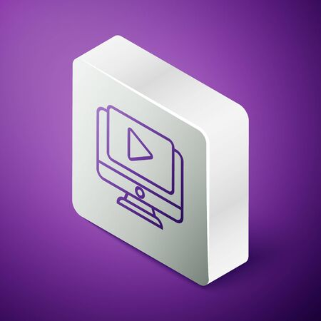 Isometric line Online play video icon isolated on purple background. Computer monitor and film strip with play sign. Silver square button