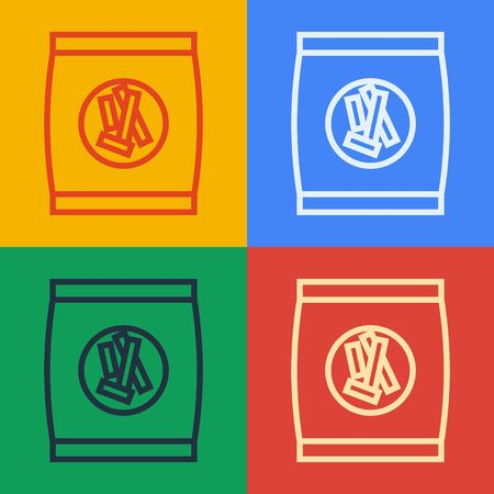 Pop art line Hard bread chucks crackers icon isolated on color background