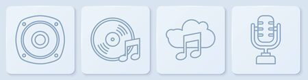 Set line Stereo speaker, Music streaming service, Vinyl disk and Microphone. White square button. Vector  イラスト・ベクター素材