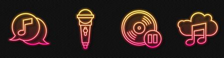Set line Vinyl disk, Musical note in speech bubble, Microphone and Music streaming service. Glowing neon icon. Vector