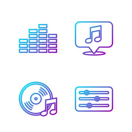 Set line Sound mixer controller, Vinyl disk, Music equalizer and Musical note in speech bubble. Gradient color icons  イラスト・ベクター素材