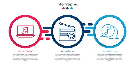 Set line Laptop with music note, Radio with antenna and Musical note in speech bubble. Business infographic template