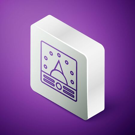 Isometric line Ampere meter, multimeter, voltmeter icon isolated on purple background. Instruments for measurement of electric current. Silver square button Ilustração