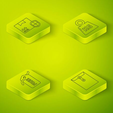 Set Isometric Weight, Price tag with Free, Envelope and Delivery pack security with shield icon. Vector