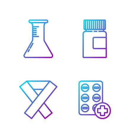 Set line Pills in blister pack, Awareness ribbon, Test tube and flask and Medicine bottle. Gradient color icons