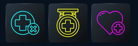 Set line Cross hospital medical, Heart with a cross and Hospital signboard. Black square button Ilustração