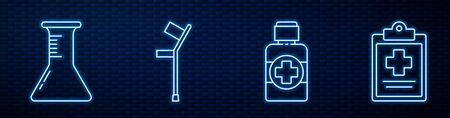 Set line Bottle of medicine syrup, Test tube and flask, Crutch or crutches, Medical clipboard with clinical record and Medicine bottle. Glowing neon icon on brick wall  イラスト・ベクター素材