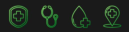 Set line Donate drop blood with cross, Medical shield with cross, Stethoscope and Map pointer with cross hospital. Gradient color icons