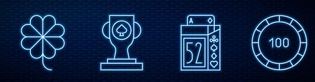 Set line Deck of playing cards, Casino slot machine with clover, Casino poker trophy cup and Casino chips. Glowing neon icon on brick wall. Vector