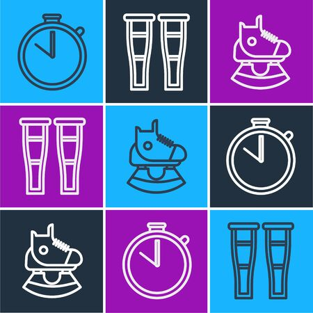 Set line Stopwatch, Skates and Crutch or crutches icon. Vector