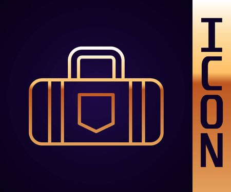 Gold line Suitcase for travel icon isolated on black background. Traveling baggage sign. Travel luggage icon Иллюстрация