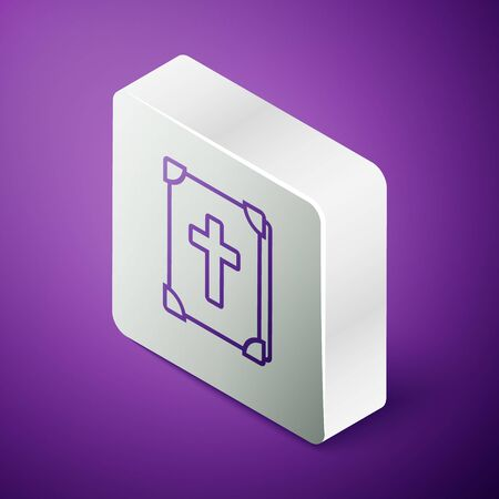 Isometric line Holy bible book icon isolated on purple background. Silver square button