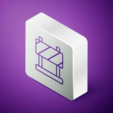Isometric line Road barrier icon isolated on purple background. Symbol of restricted area which are in under construction processes. Repair works. Silver square button