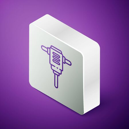 Isometric line Electric rotary hammer drill machine icon isolated on purple background. Working tool for construction, finishing, repair work. Silver square button Иллюстрация