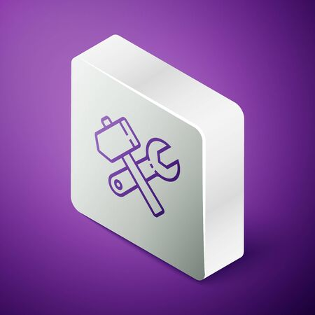 Isometric line Crossed hammer and wrench spanner icon isolated on purple background. Hardware tools. Silver square button