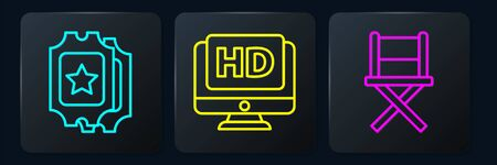 Set line Cinema ticket, Director movie chair and Monitor with HD video. Black square button. Vector