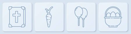 Set line Holy bible book, Balloons with ribbon, Carrot and Basket with easter eggs. White square button Иллюстрация